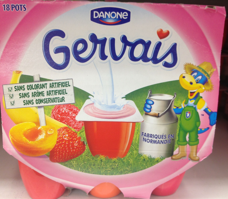 Gervais (Fraise, Framboise, Abricot, Pêche, Banane) - (2 % MG) 18 Pots - Product - fr