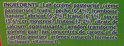 Gervais (Fraise, Framboise, Abricot, Pêche, Banane) - (2 % MG) 18 Pots - Ingredients - fr