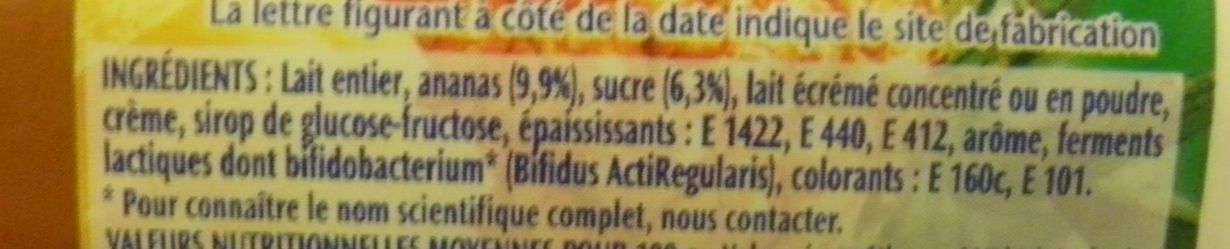 Activia Fruits (Ananas) - Ingrédients - fr
