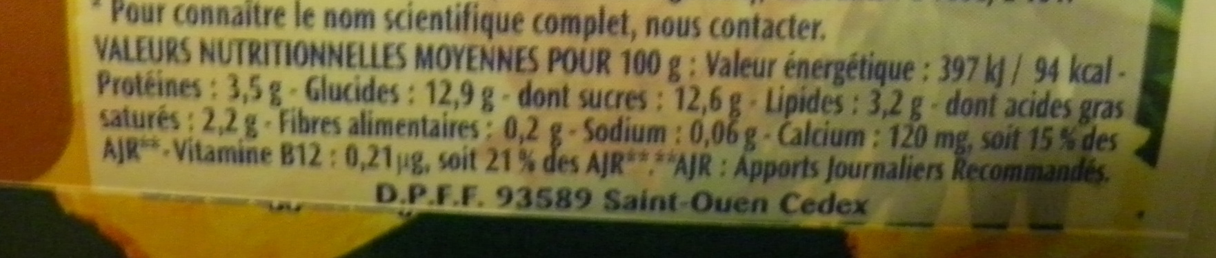Activia Fruits (Ananas) - Valori nutrizionali - fr