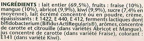 Activia (Abricot, Fraise, Kiwi, Mangue) 8 Pots - Ingredients