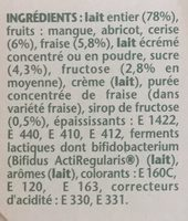 Activia fruits mixés - Ingredients - fr