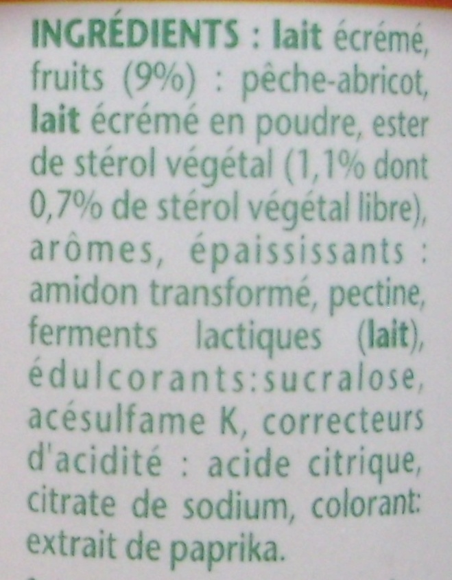 Danacol (0 % MG) Pêche Abricot - Ingrédients - fr