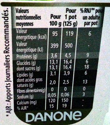 Activia (Saveur Vanille) - Informations nutritionnelles - fr