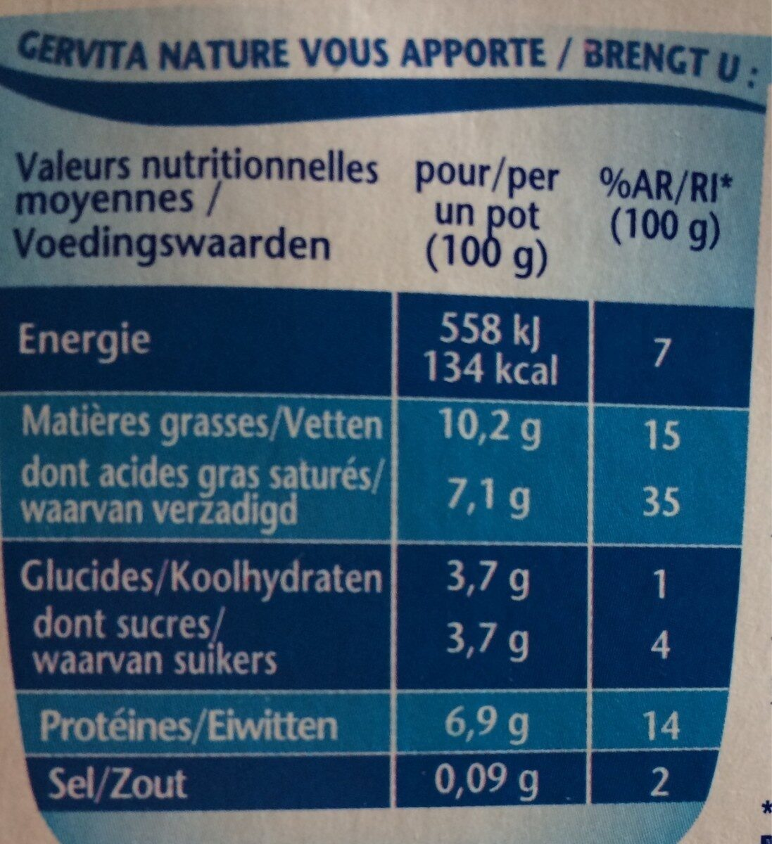 Fromage blanc mousse nature - Voedingswaarden - fr