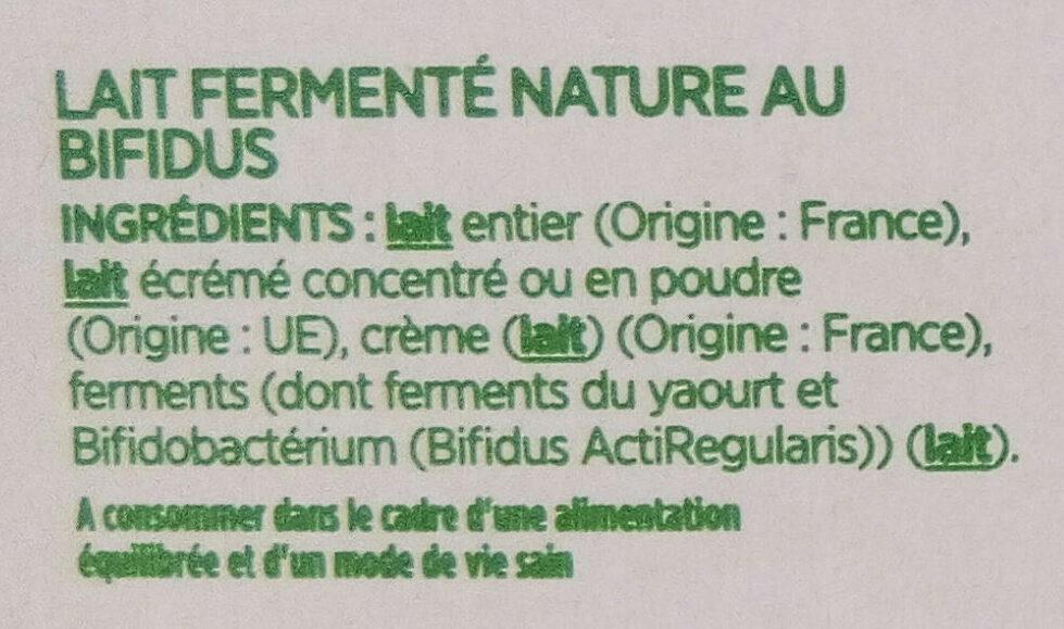 Activia (Brassé Nature) 8 Pots - Ingrédients - fr
