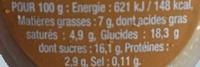 Danette (le Liégeois Café) 4 Pots - Voedingswaarden - fr