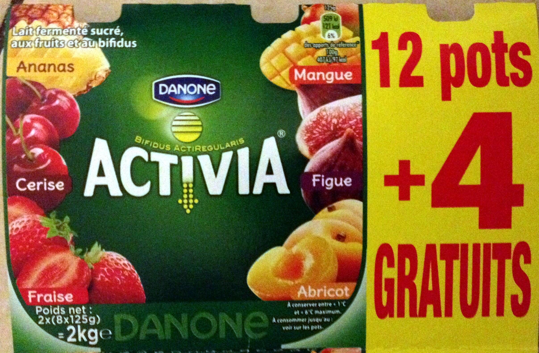 Activia (Ananas, Cerise, Fraise, Mangue, Figue, Abricot) 12 Pots + 4 Gratuits - Prodotto - fr