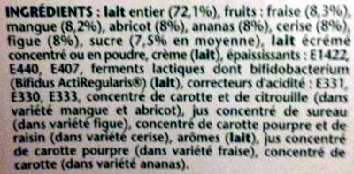 Activia (Ananas, Cerise, Fraise, Mangue, Figue, Abricot) 12 Pots + 4 Gratuits - Ingredienti - fr