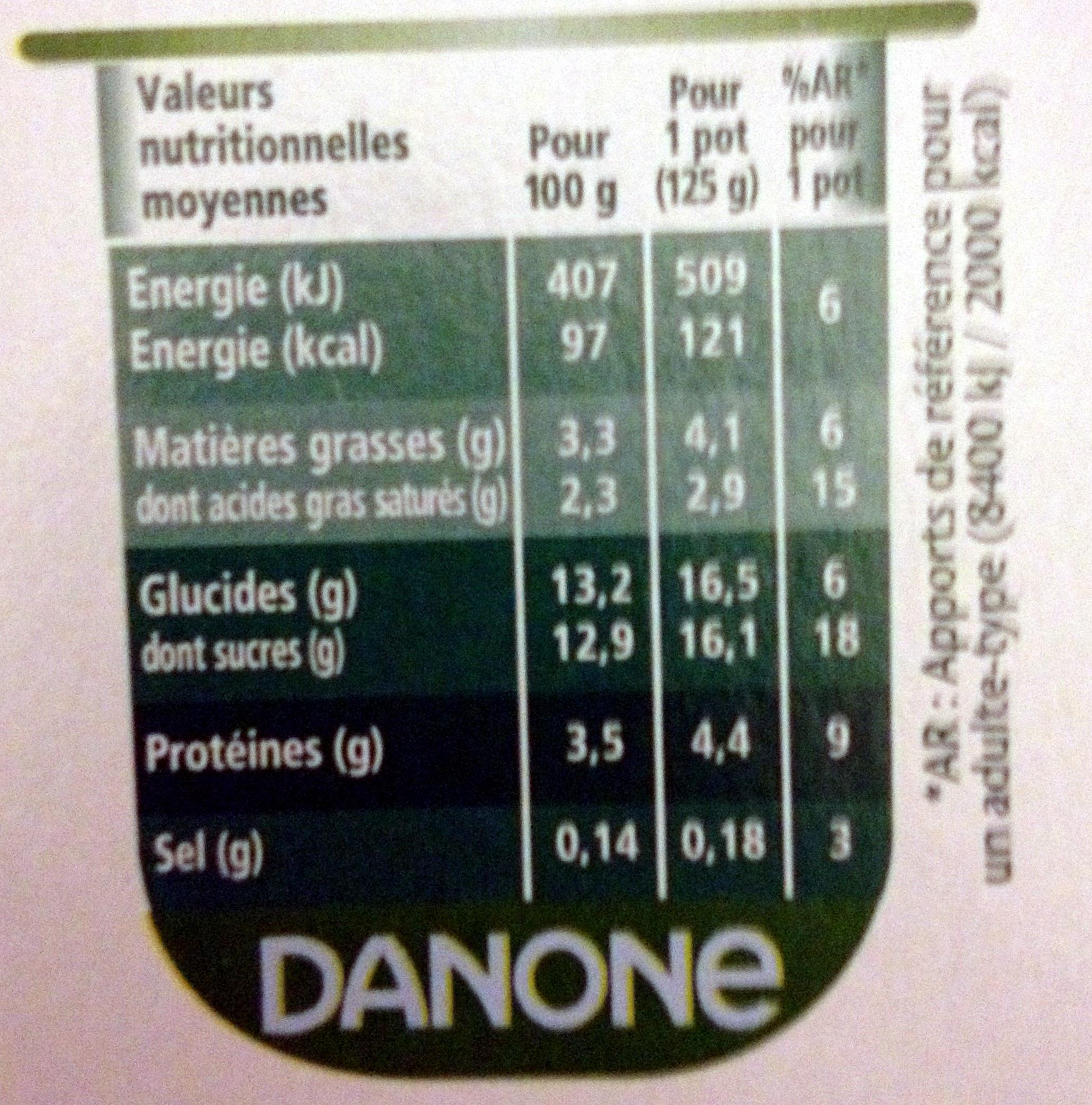 Activia (Ananas, Cerise, Fraise, Mangue, Figue, Abricot) 12 Pots + 4 Gratuits - Valori nutrizionali - fr