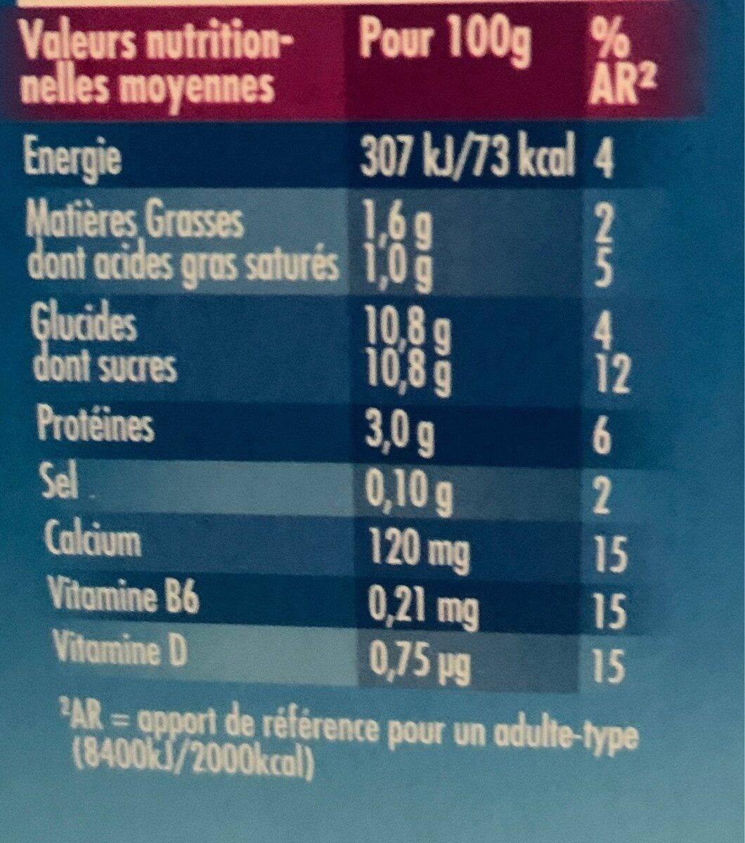 Actimel - Informations nutritionnelles - fr