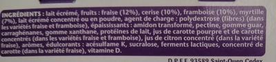 Taillefine (0 % MG) Fruits rouges panachés 8 Pots - Ingrediënten