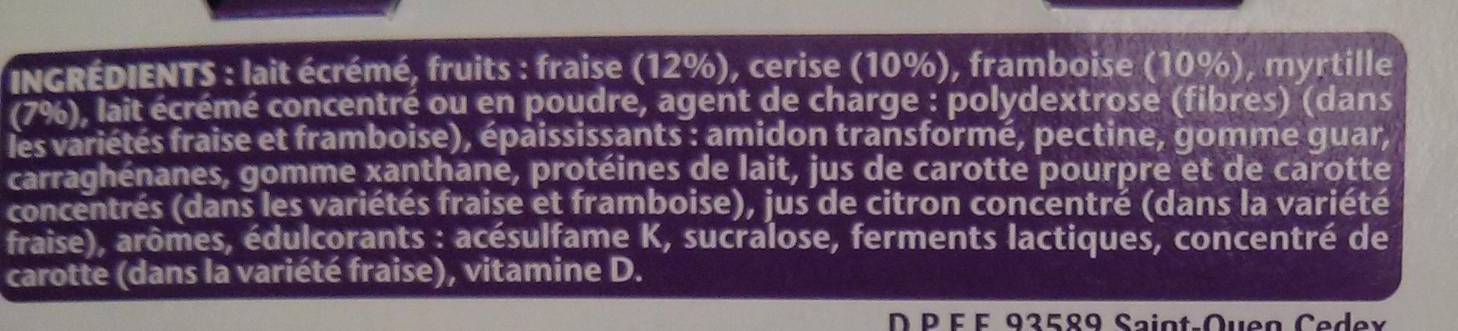 Taillefine (0 % MG) Fruits rouges panachés 8 Pots - Ingredients