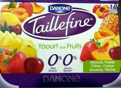 Taillefine, Yaourt au Fruits (0 % MG, 0 % Sucres Ajoutés) - (Abricot, Fraise, Citron, Cerise, Ananas, Pêche) 16 Pots - Produit - fr