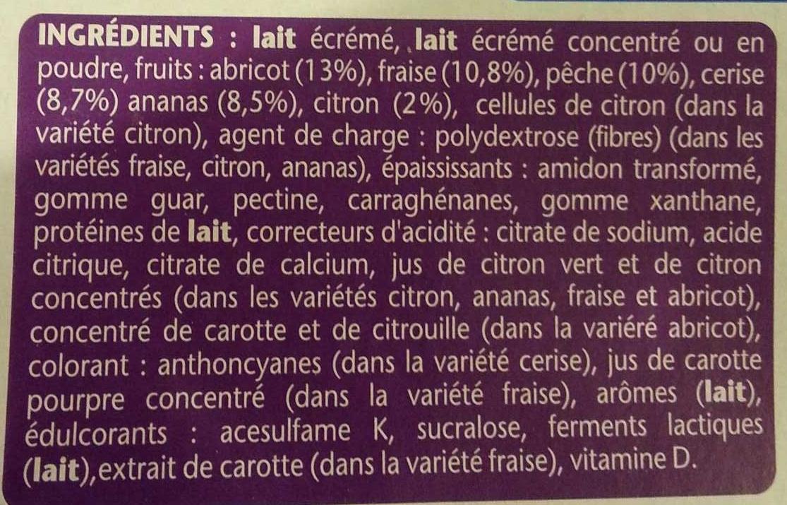 Taillefine, Yaourt au Fruits (0 % MG, 0 % Sucres Ajoutés) - (Abricot, Fraise, Citron, Cerise, Ananas, Pêche) 16 Pots - Ingrédients - fr