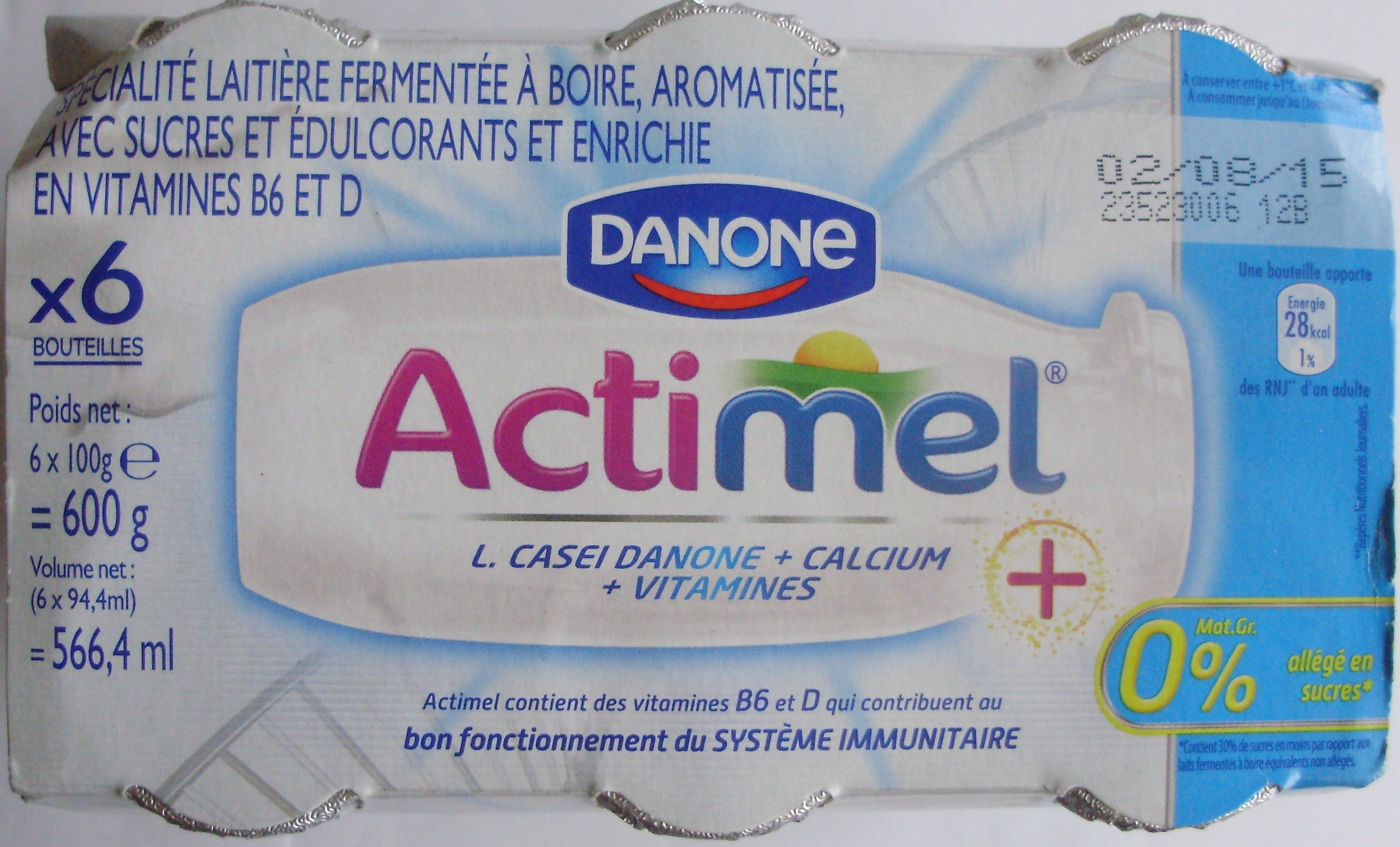Actimel + (0 % MG) x 6 Bouteilles - Product - fr