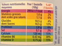 Actimel + (x 10 Bouteilles) - Nutrition facts - fr