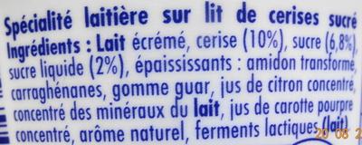 Danio - Spécialité laitière sur lit de cerises sucré - Ingredients - fr