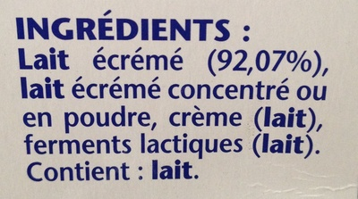 Yaourt (Nature) 16 Pots - Ingredients - fr