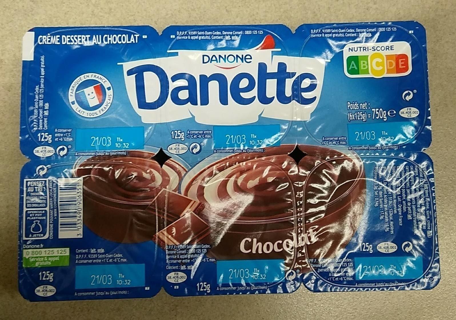 Danette Chocolat lait - Product - fr