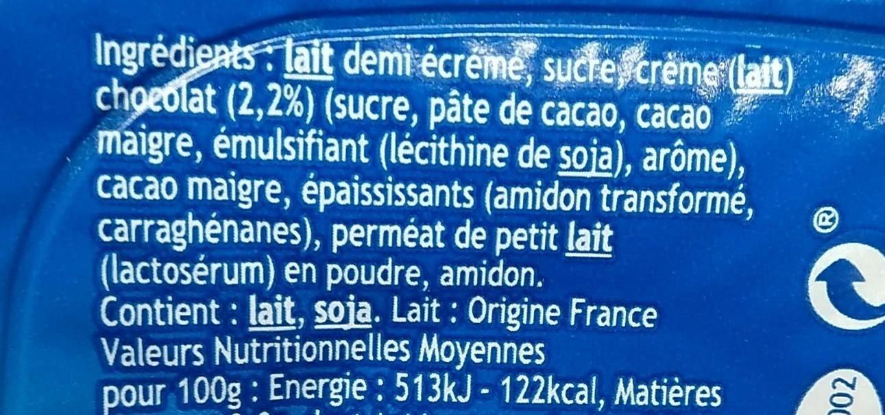 Danette Chocolat lait - Ingredients - fr