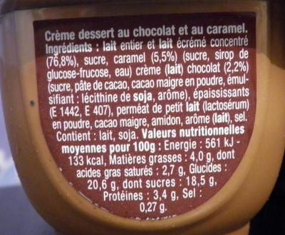 Danette (la Chocolaterie Choco Caramel) - Ingredients