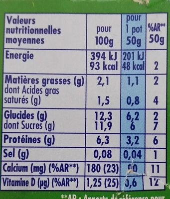 Danonino Gervais - Nutrition facts