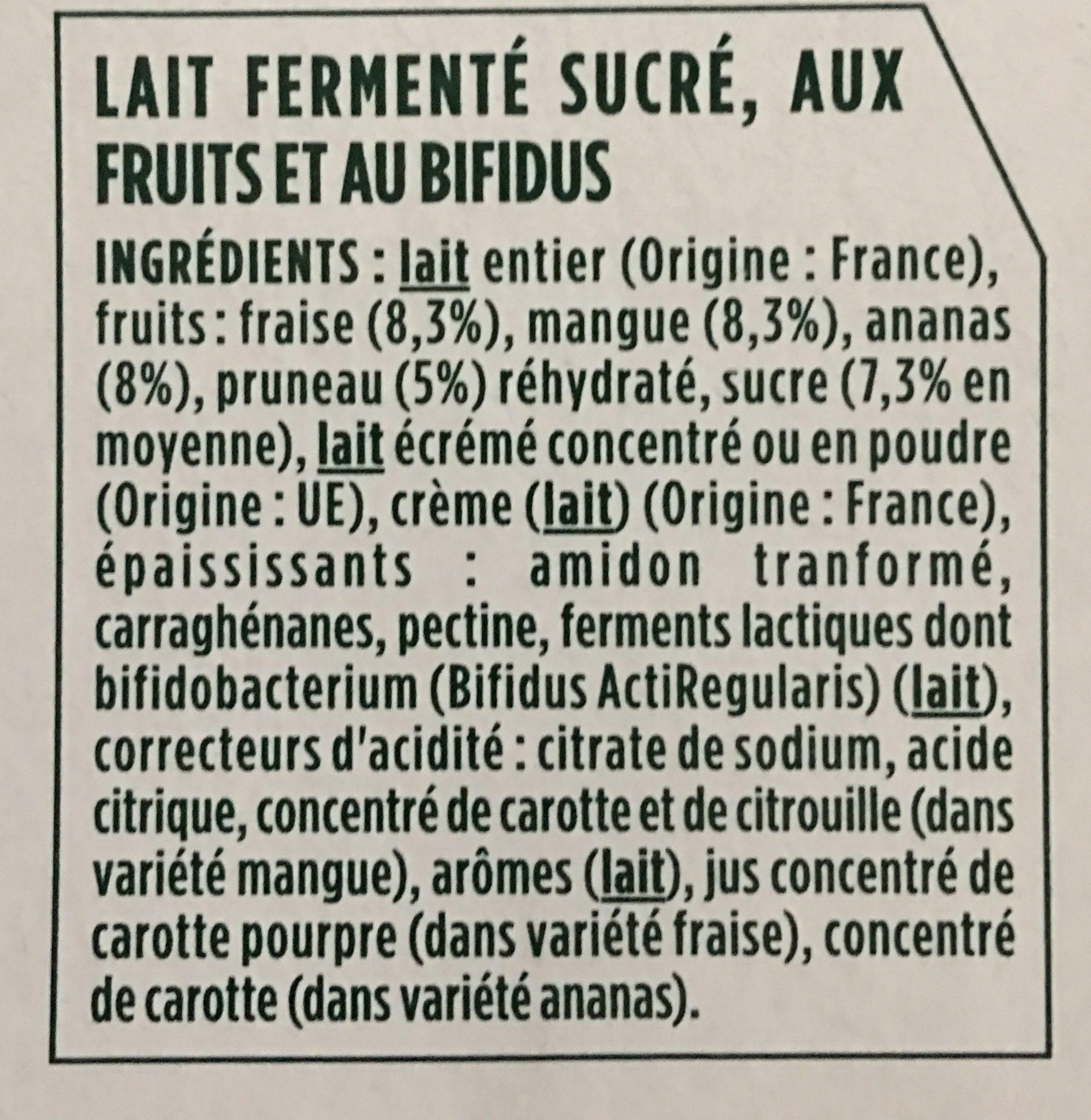 Activia fruits - Ingrédients - fr