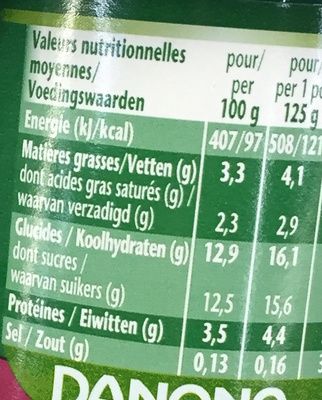 Activia Fruits Pruneaux - Nutrition facts