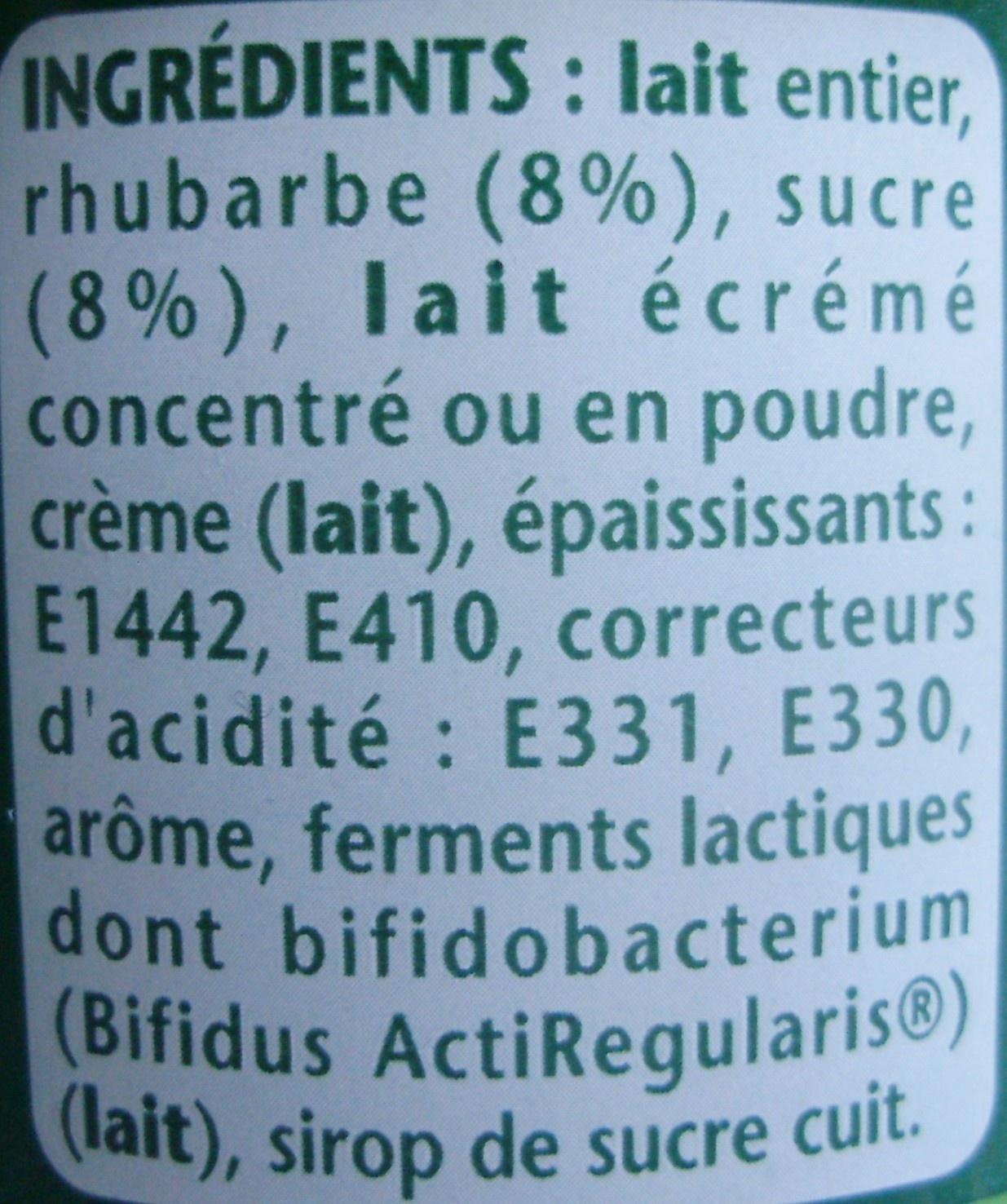 Activia Fruits (Rhubarbe) - Ingrédients
