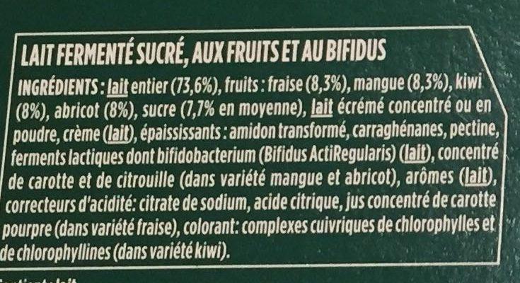 Activia aux fruits - Ingrédients