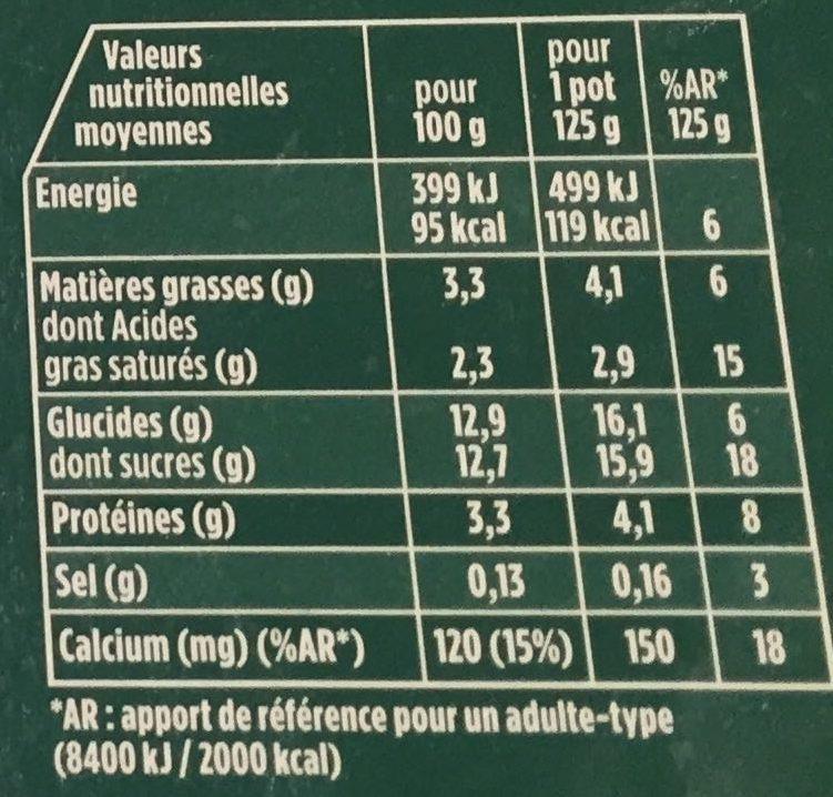 Activia aux fruits - Informations nutritionnelles