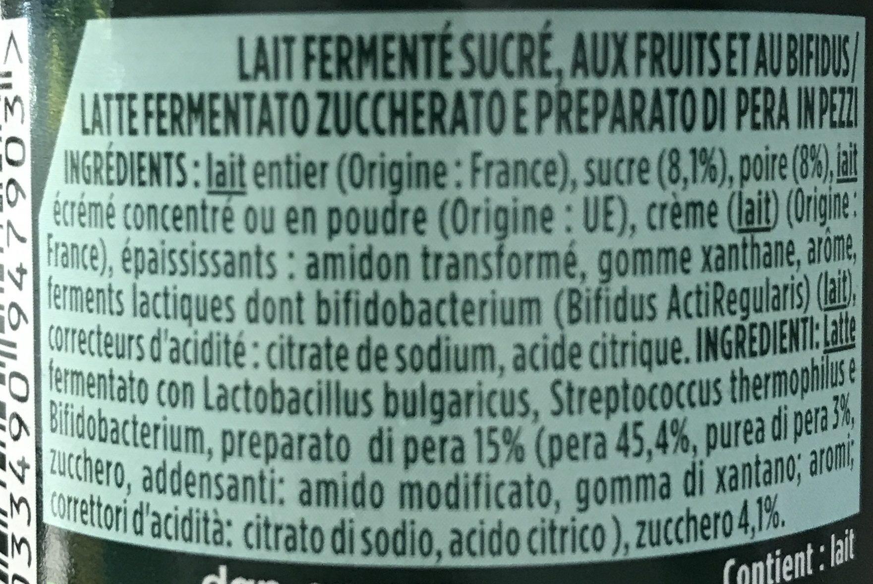 Spécialité laitière au bifidus, saveur poire - Ingrédients