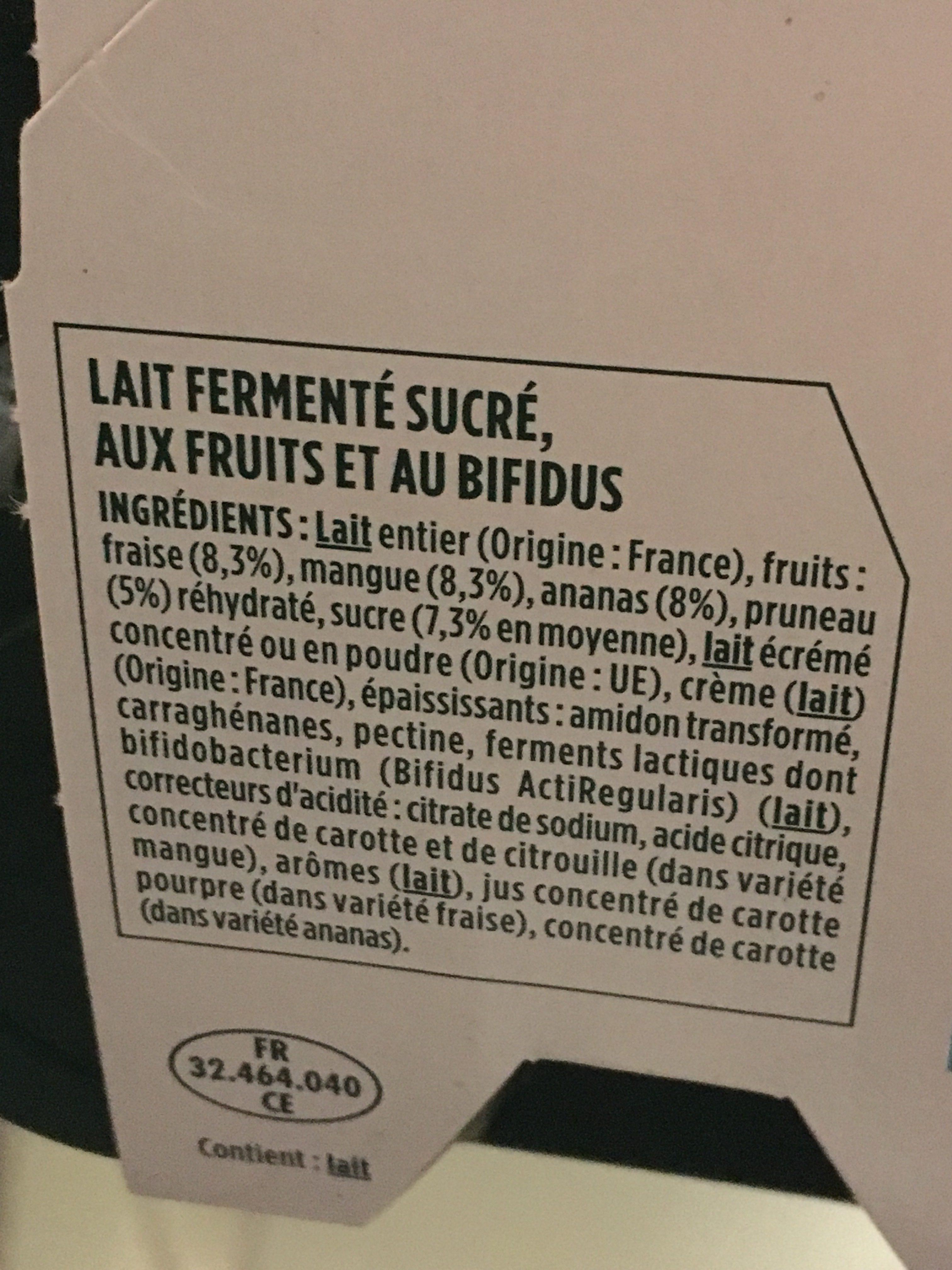 Activia Lait fermenté au bifidus aux fruits les 12 pots de 125 g - Ingredienti - fr