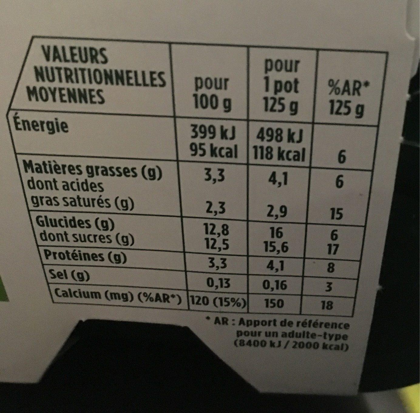 Activia Lait fermenté au bifidus aux fruits les 12 pots de 125 g - Valori nutrizionali - fr