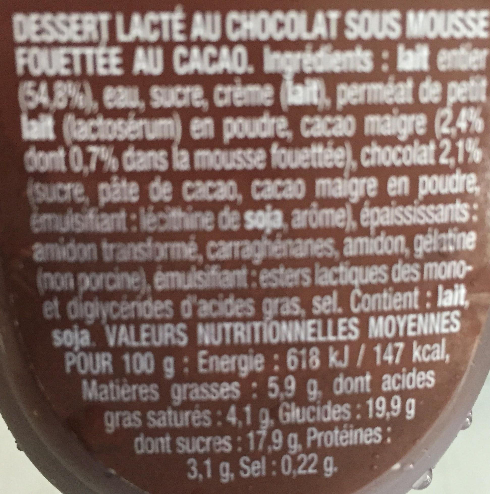Danette (le Liégeois Chocolat) 4 pots - Ingrediënten - fr