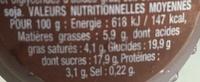 Danette (le Liégeois Chocolat) 4 pots - Voedingswaarden - fr