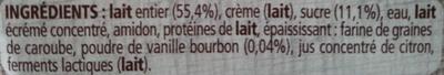 Gervais à la vanille - Ingrédients
