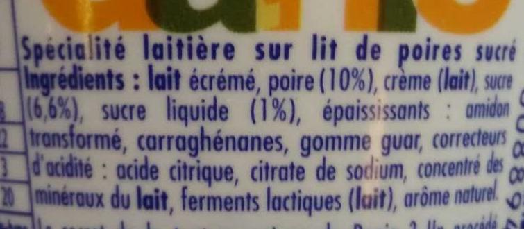 Danio Poire - Ingredients - fr