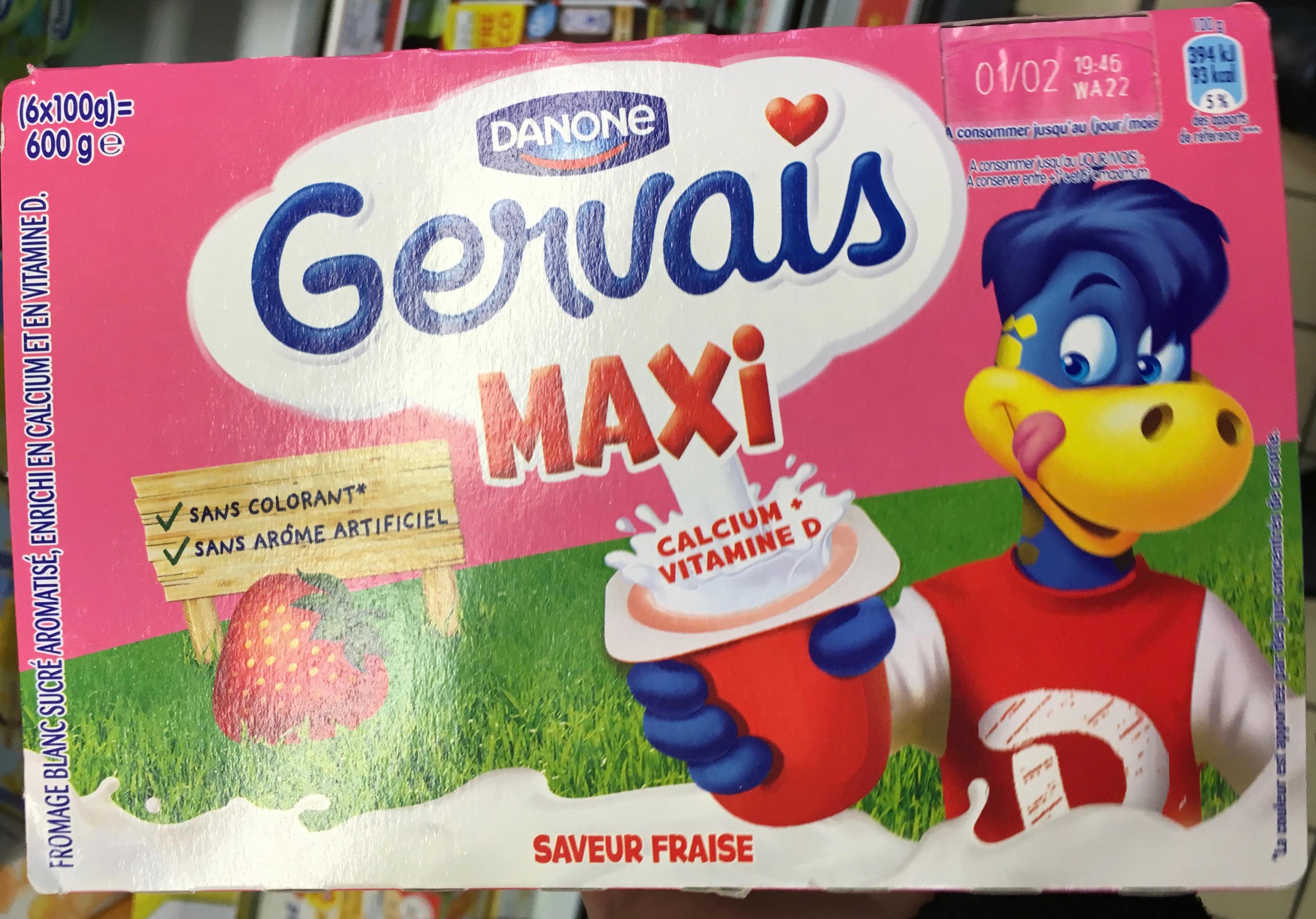 Gervais Maxi saveur Fraise - Produit - fr
