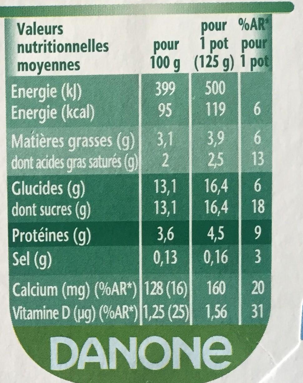 Activia saveur vanille - Nutrition facts