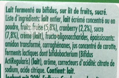 ACTIVIA Fraise-Cranberry - Ingredients
