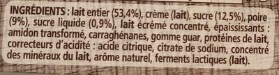 Le yaourt sur lit de poires - Ingrédients