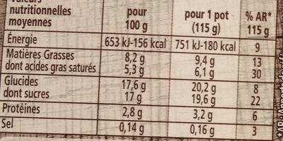 Le yaourt sur lit de poires - Informations nutritionnelles - fr