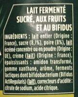 Activia poire - Ingrédients - fr