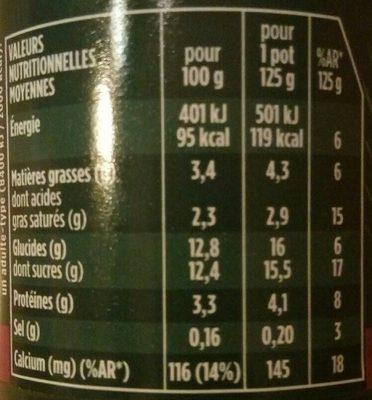 Activia cerise - Informations nutritionnelles