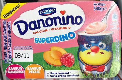 Danonino Superdino Saveur Framboise / Pêche - Produit - fr