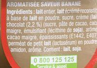 Danette saveur chocolat banane - Ingrediënten