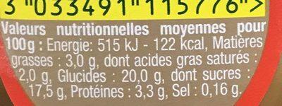 Danette saveur chocolat banane - Voedigswaarden