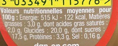Danette Chocolat saveur Banane (Prix choc) - Informations nutritionnelles